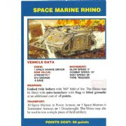 Space Marine Rhino Vehicle Data Card from Warhammer 40,000 2nd Edition